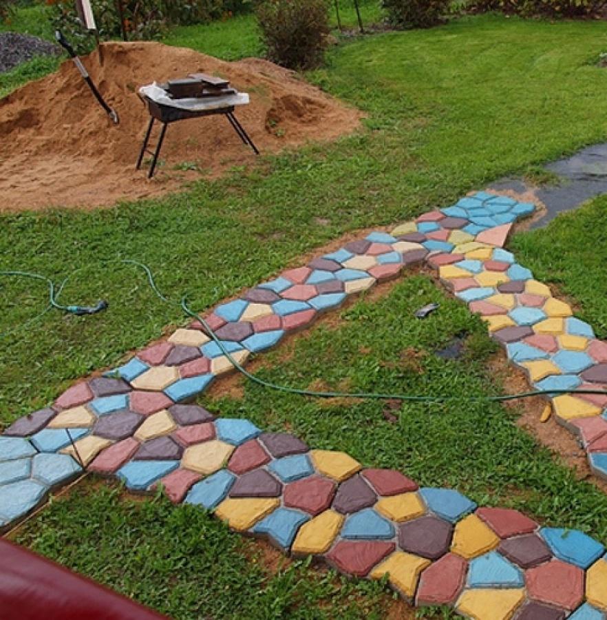 Покраска плитки тротуарной своими руками